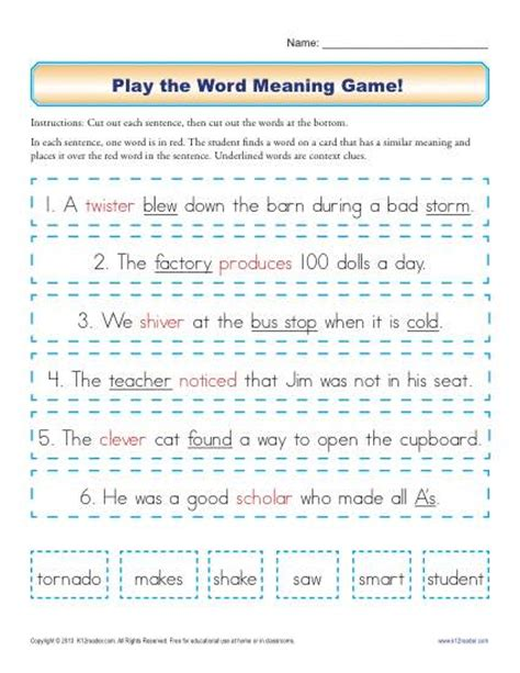 reference books that contain words of similar meaning play the word meaning context clues worksheets for