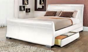 White Leather Sleigh Bed Rimini 4 Drawer Sleigh Storage 5ft Kingsize White Faux Leather Bed Branded Furniture