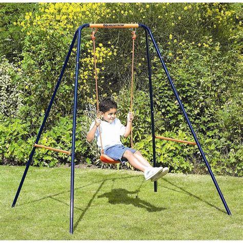 swinging with hedstrom deluxe 2 in 1 toddler kids swing set