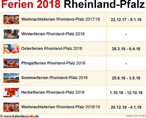 Kalender 2018 Rlp Ferien Rheinland Pfalz 2018 220 Bersicht Der Ferientermine