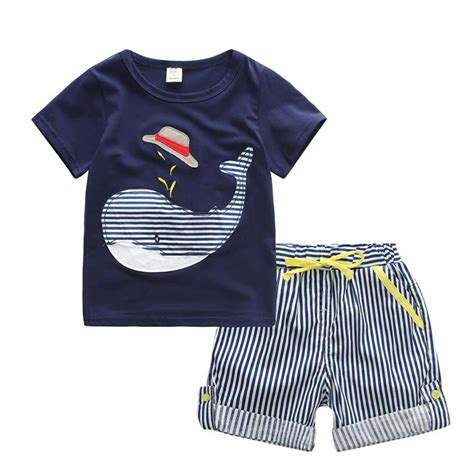 H M Tshirt Anak Whale Limited whale print t shirt striped baby boy sets children clothes casual clothing