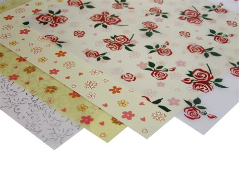 Patterned Craft Paper - patterned floral vellum paper 4 sheets craft factory
