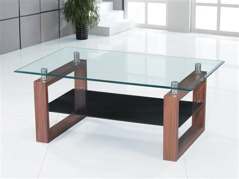 glass coffee table wooden legs coffee table clear black glass wood legs 1 shelf