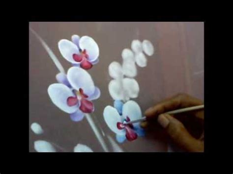 fabric painting orchid motif design how to tutorial cara melukis kain gambar motif bunga anggrek
