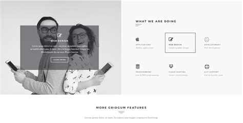 Black White Label Bootstrap Website Template Gridgum White Label Website Templates