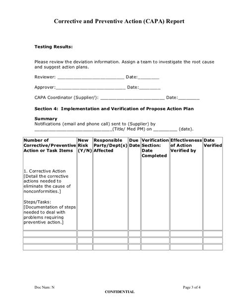 Corrective And Preventive Action Plan Capa Report Form Capa Template Clinical Research