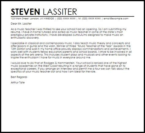 music teacher cover letter sle livecareer