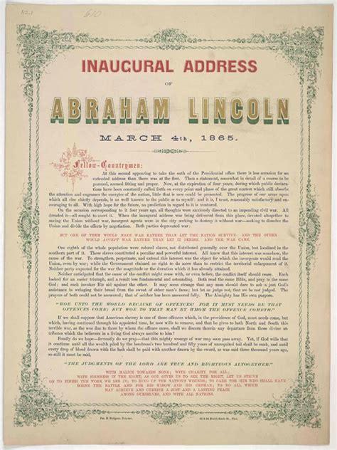 abraham lincoln inaugural address abraham lincoln s second inaugural speech civil war