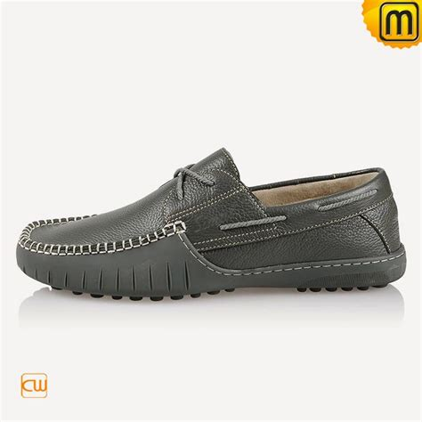 handmade grey leather driving shoes for cw740108