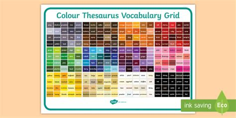 synonyms for color colour thesaurus vocabulary grid colour thesaurus