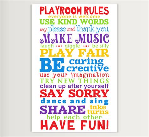 free printable playroom wall art printable playroom rules for home or school and kindergarten