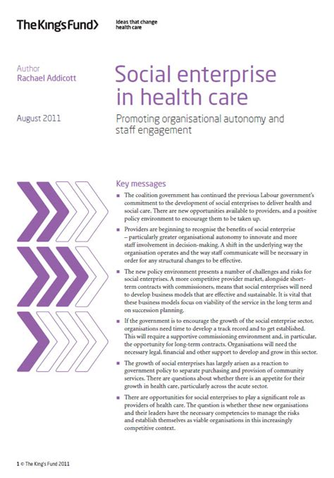 Health And Social Care Essays by Social Enterprise In Health Care The King S Fund