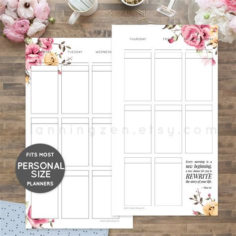 free printable personal size planner inserts printable planner inserts for personal size planners