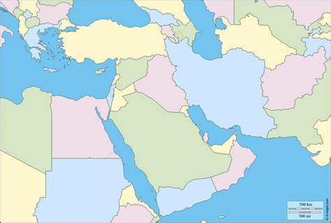 middle east map colored south west asia free map free blank map free outline
