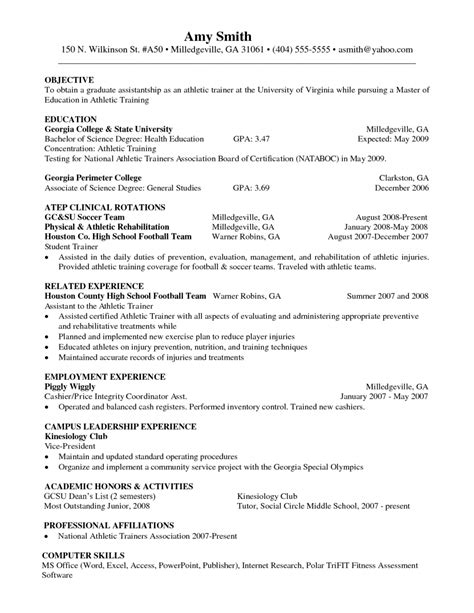 athletic trainer resume the best resume