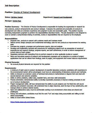 product design job description development director job description sle 9 exles