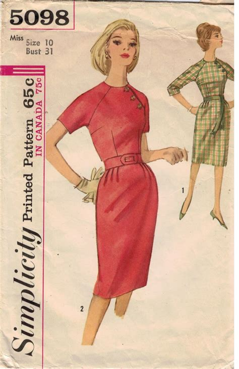 vintage pattern simplicity simplicity pattern 5098 one piece dress with shoulder