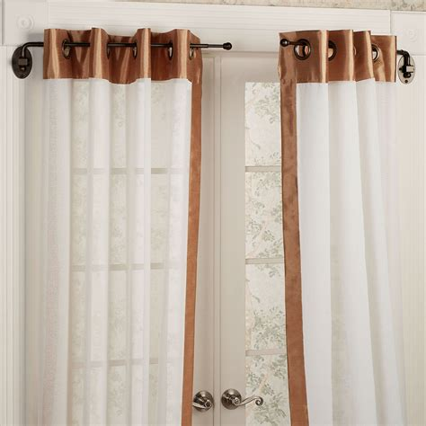 home decor curtain ideas interior white sheer grommet curtains with black tension