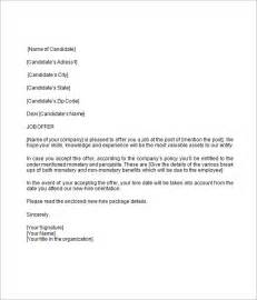 Offer Letter Word Template Sle Offer Letter 9 Documents In Word