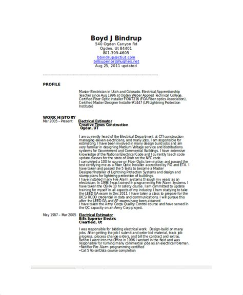 Resume For Electrician by Electrician Resume Template 5 Free Word Excel Pdf