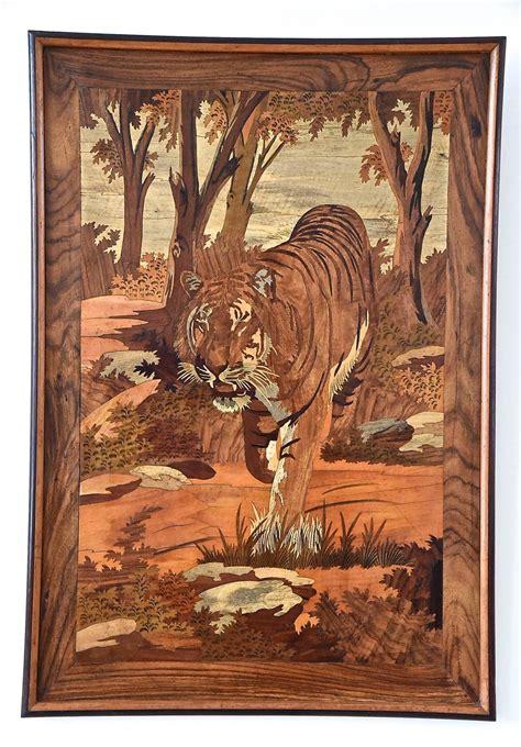 design franc art art deco wood inlay panel with tiger france 1930 at 1stdibs