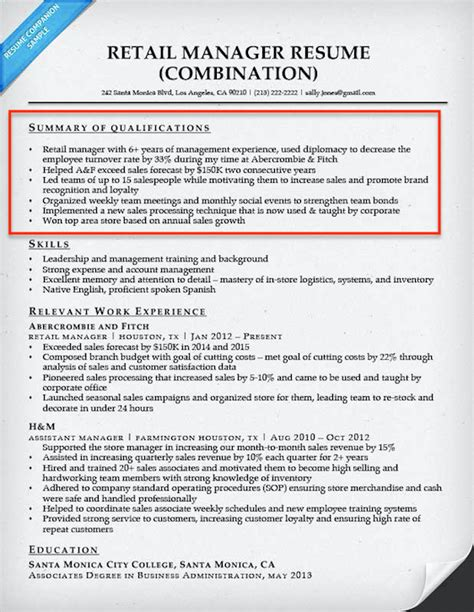 Resume Summaries by How To Write A Summary Of Qualifications Resume Companion