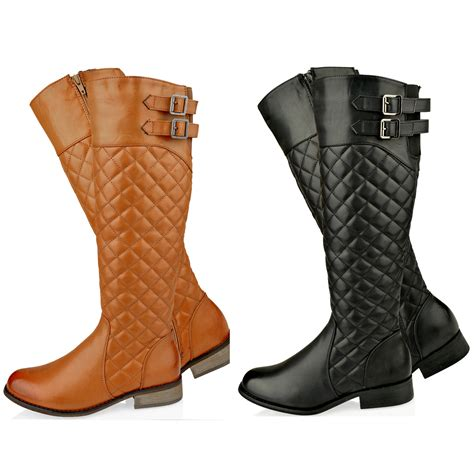 Quilted Boots by Womens Flat Knee High Quilted Calf Boots