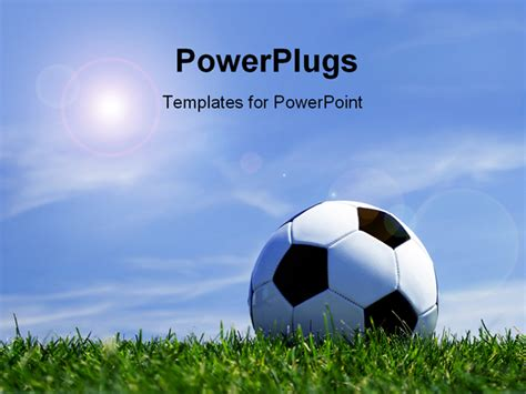 Powerpoint Template Soccer Ball On Grass Depicting Sports Concept With Beautiful Blue Sky 12821 Soccer Powerpoint Template