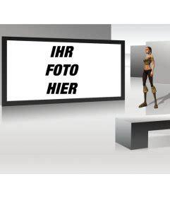 3d frau erstellen futuristischen tv bilderrahmen mit 3d aussehende frau
