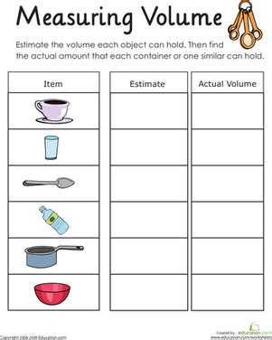 measuring volume: how much liquid can it hold? | worksheet
