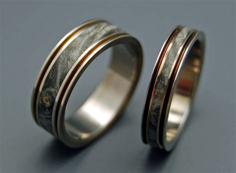 unique wedding bands wood inlay titanium wedding bands
