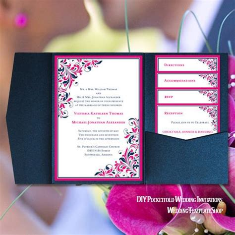 folding fan wedding invitations pocket fold wedding invitations kaitlyn pink navy blue