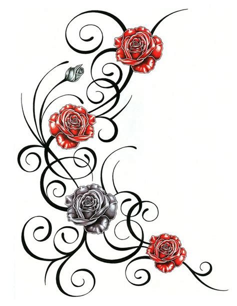 vine rose tattoo trends roses with tribal design by jsharts