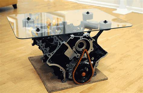 mustang engine block coffee table