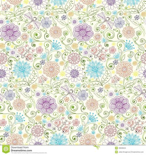 pattern web flower vector pattern with flowers butterfly dragonfly stock