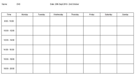 revision timetable template blank