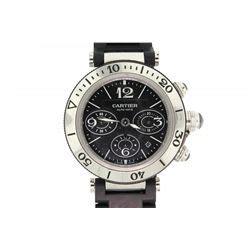Pasha Cesar M 01 Black s st steel black rubber cartier pasha seatimer chronograph wristwatch 41 5mm cas