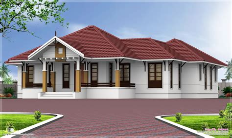 one floor homes single floor 4 bedroom home with courtyard kerala home design and floor plans