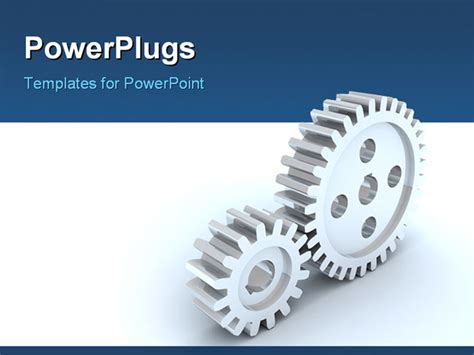 powerpoint template small and big gear wheels over white