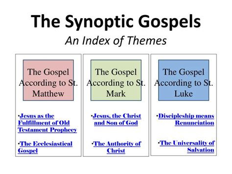 themes in the book of matthew ppt the synoptic gospels an index of themes powerpoint