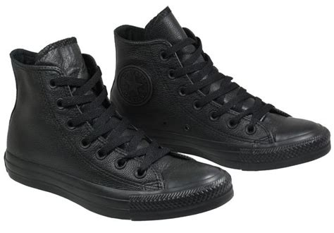 converse womens trainers black leather high tops landau