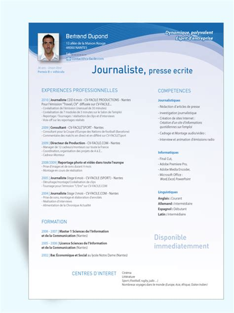 Exemple Lettre De Motivation Journaliste Exemple Cv Journaliste Gratuit Cv Anonyme