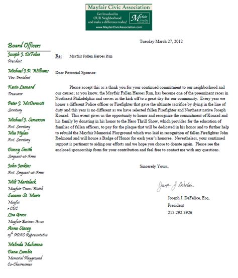 Scholarship Solicitation Letter Mayfair Civic Association March 2012