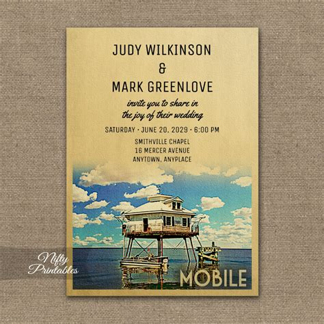 Alabama Wedding Invitations Printed mobile alabama wedding invitation printed nifty printables