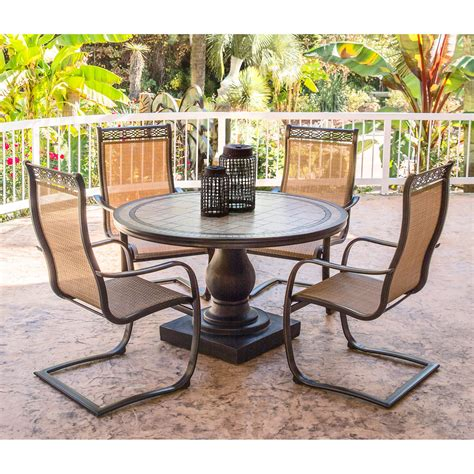 Monaco Piece Outdoor Dining Set With C Spring Chairs And Mainstays Wicker 5 Patio Dining Set Seats 4