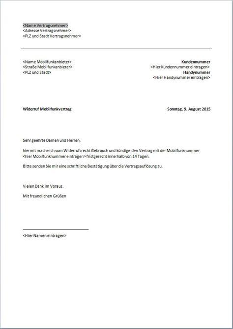 Word Vorlage Handyvertrag K Ndigen k 252 ndigung handyvertrag vorlage text word pdf