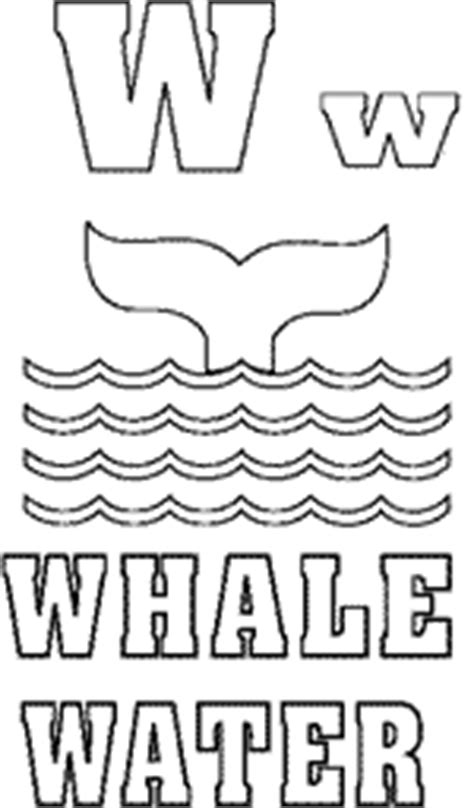 W Is For Water Coloring Page by Whale In Water Waves Letter W Alphabet Coloring Page