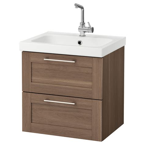 Wash Stand With Drawers odensvik godmorgon wash stand with 2 drawers walnut effect