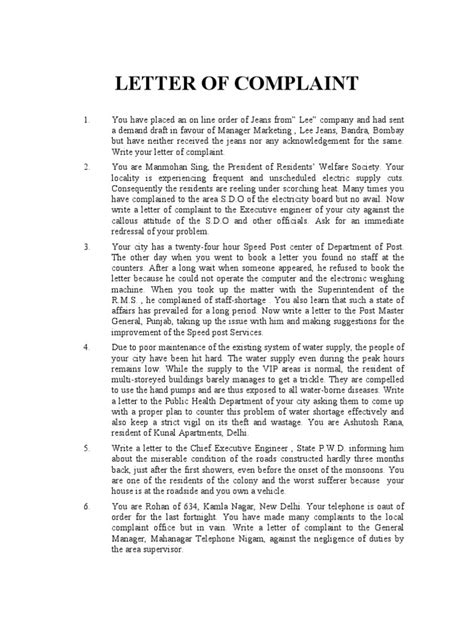Complaint Letter For Poor Water Supply Letter Of Complaint