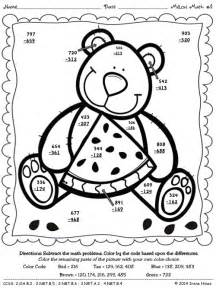 color by number addition coloring pages melon math 3 digit addition subtraction with